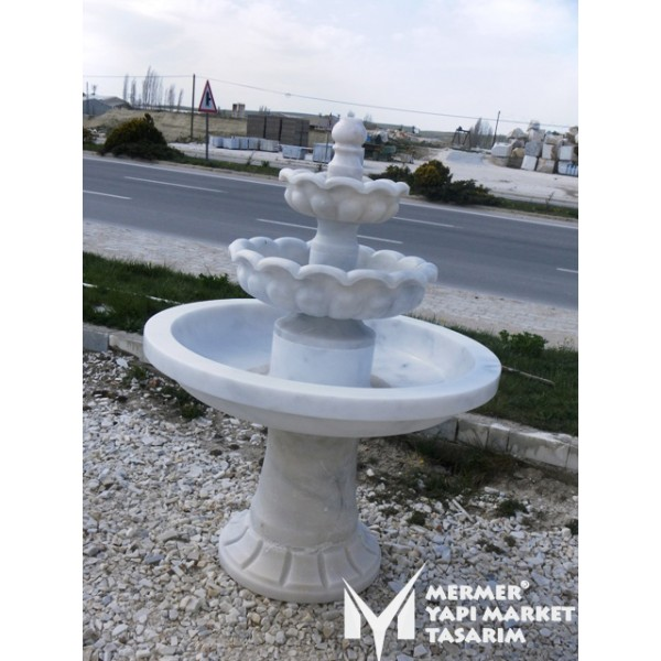 Cloudy White Marble Three Bowl Saloon Sp...