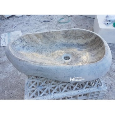 Silver Travertine Unshaped Ellipse Sink