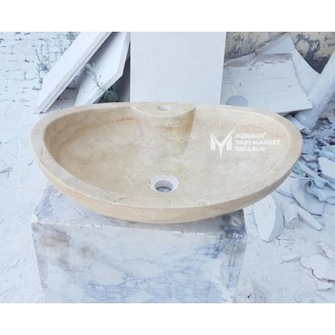 Travertine With Faucet Outlet Ellipse Washbasin