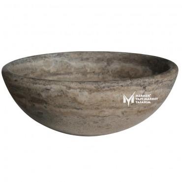Silver Travertine Round Washbasin