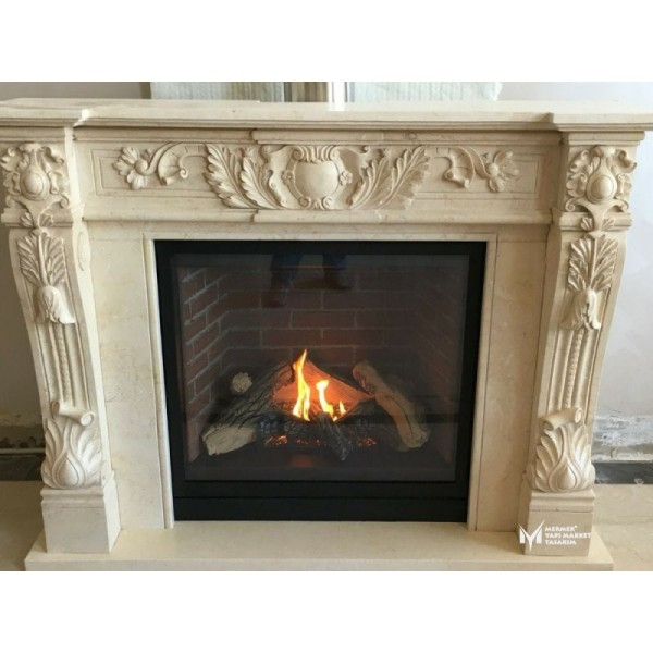 Beige Marble Special Design Fireplace
