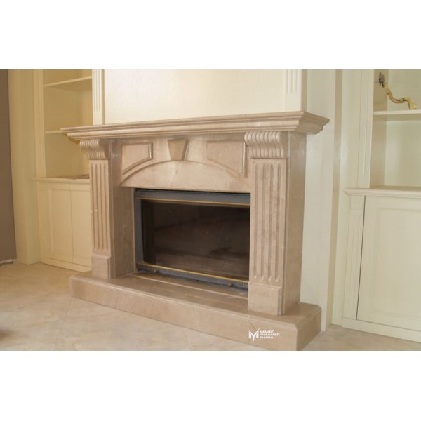 Beige Marble Custom Embroidered Fireplac...