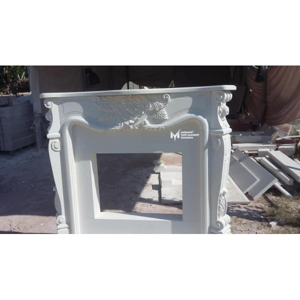 White Marble Fancy Design Fireplace
