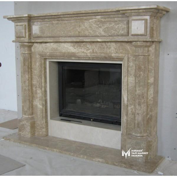 Light Emperador Embrodeiered Fireplace