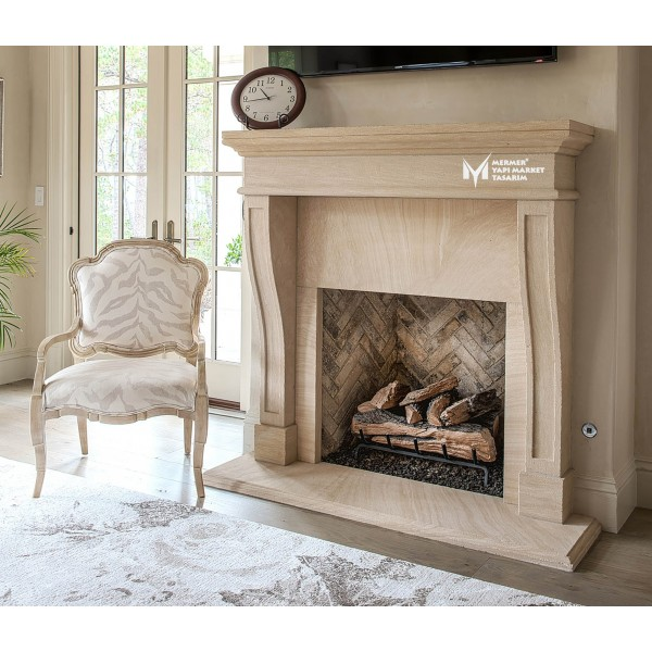 Travertine Striped Detailed Fireplace
