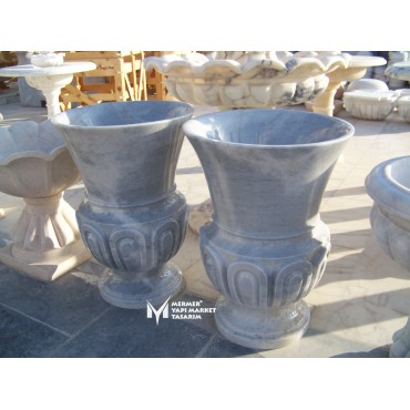 Gray Marble Patterned Embroidered Long Flower Pot