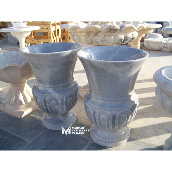 Gray Marble Patterned Embroidered Long F...